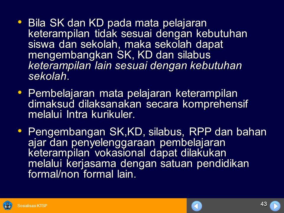 Sosialisasi KTSP 43 Bila SK dan KD pada mata pelajaran keterampilan tidak sesuai dengan kebutuhan siswa dan sekolah, maka sekolah dapat mengembangkan