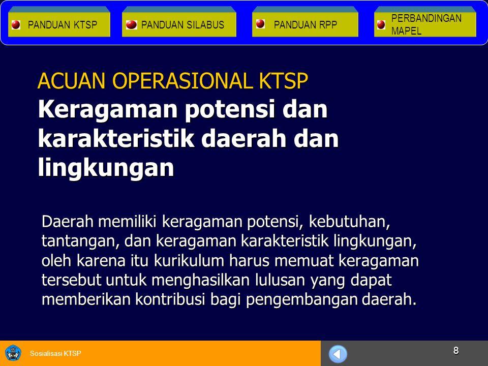 Sosialisasi KTSP 8 Daerah memiliki keragaman potensi, kebutuhan, tantangan, dan keragaman karakteristik lingkungan, oleh karena itu kurikulum harus me