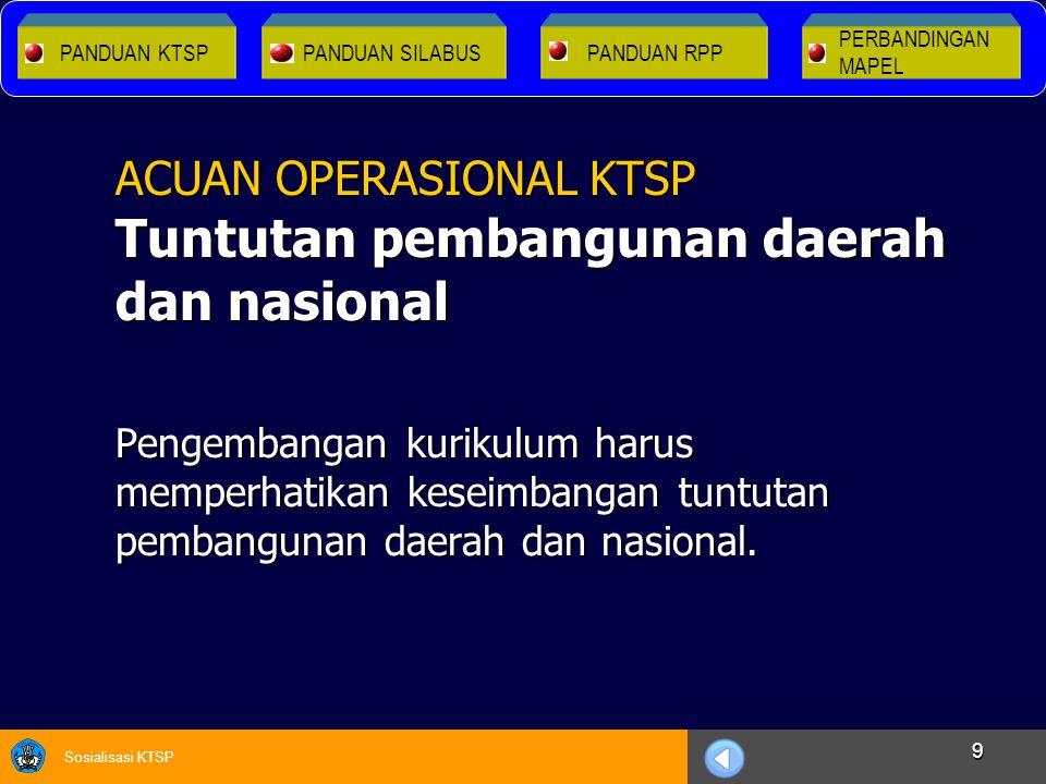 Sosialisasi KTSP 9 Pengembangan kurikulum harus memperhatikan keseimbangan tuntutan pembangunan daerah dan nasional. ACUAN OPERASIONAL KTSP Tuntutan p