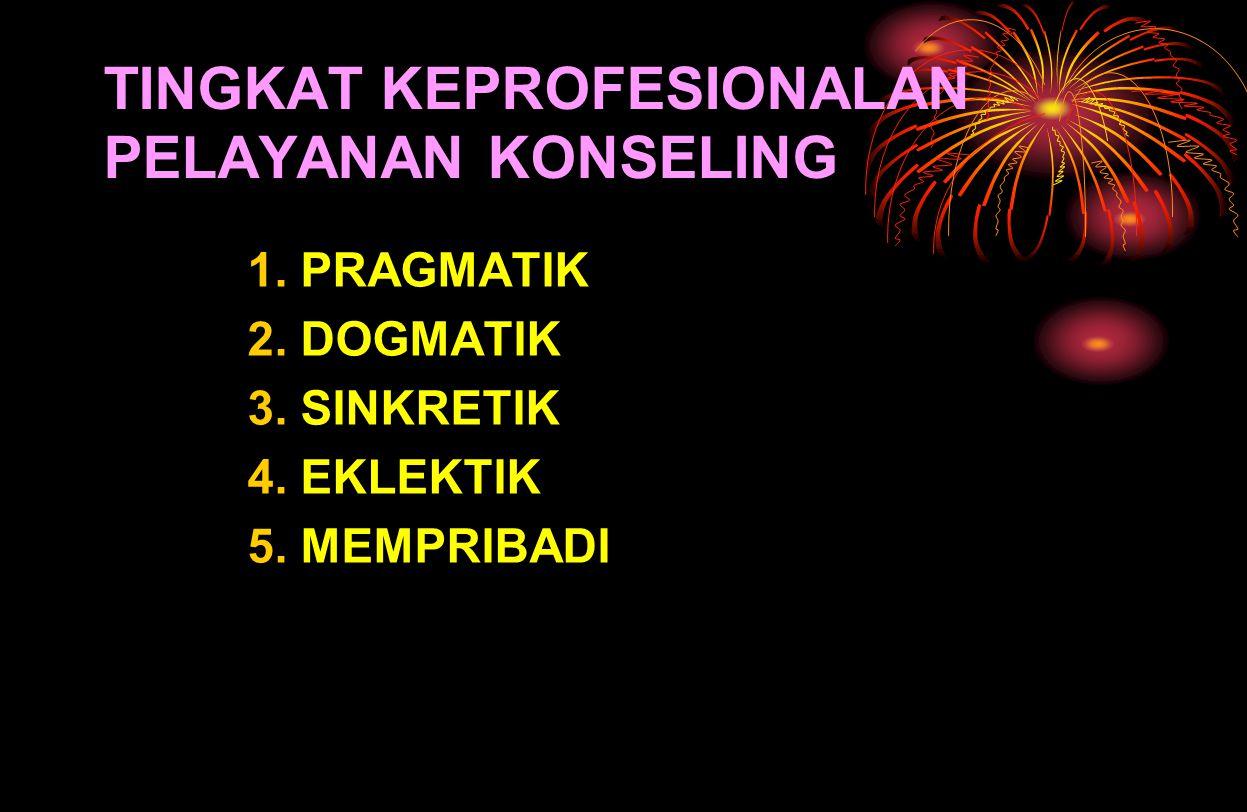 TINGKAT KEPROFESIONALAN PELAYANAN KONSELING 1. PRAGMATIK 2. DOGMATIK 3. SINKRETIK 4. EKLEKTIK 5. MEMPRIBADI