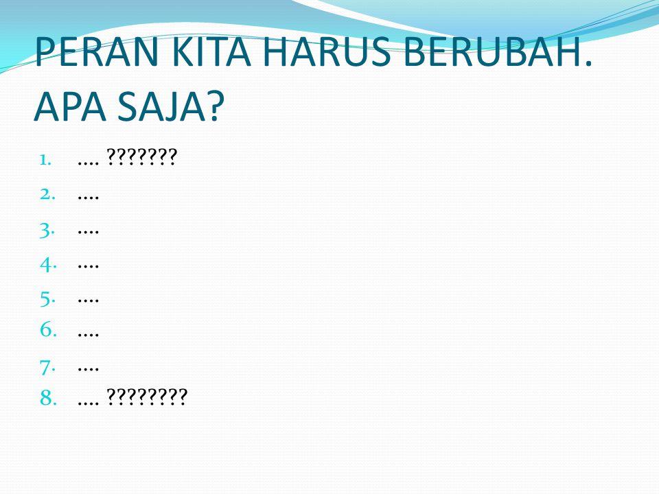 PERAN KITA HARUS BERUBAH.APA SAJA. 1. …. ??????. 2.