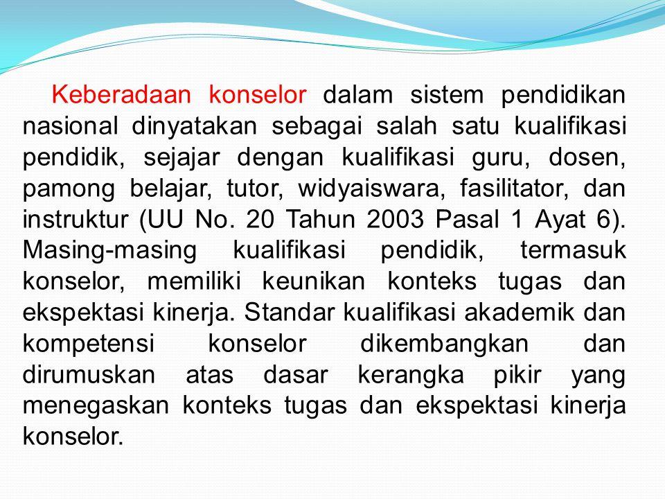 Keberadaan konselor dalam sistem pendidikan nasional dinyatakan sebagai salah satu kualifikasi pendidik, sejajar dengan kualifikasi guru, dosen, pamong belajar, tutor, widyaiswara, fasilitator, dan instruktur (UU No.