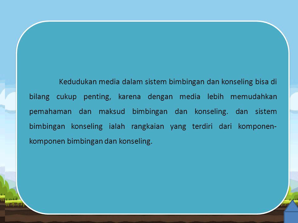 Kedudukan media dalam sistem bimbingan dan konseling bisa di bilang cukup penting, karena dengan media lebih memudahkan pemahaman dan maksud bimbingan dan konseling.