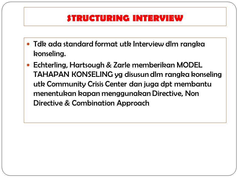 STRUCTURING INTERVIEW Tdk ada standard format utk Interview dlm rangka konseling. Echterling, Hartsough & Zarle memberikan MODEL TAHAPAN KONSELING yg