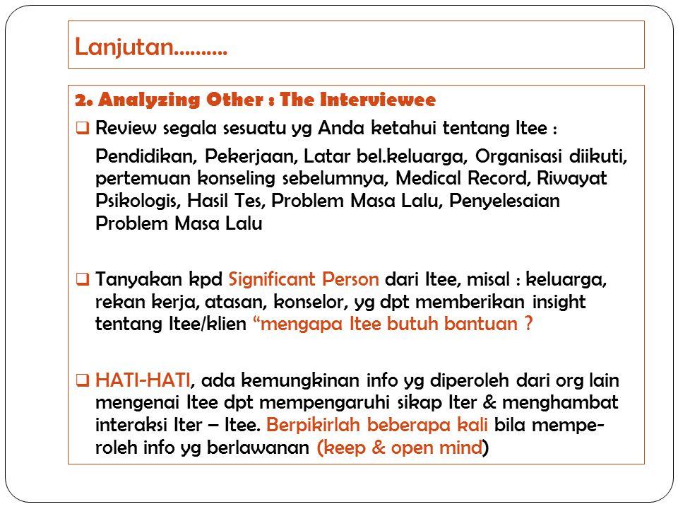 Lanjutan………. 2. Analyzing Other : The Interviewee  Review segala sesuatu yg Anda ketahui tentang Itee : Pendidikan, Pekerjaan, Latar bel.keluarga, Or