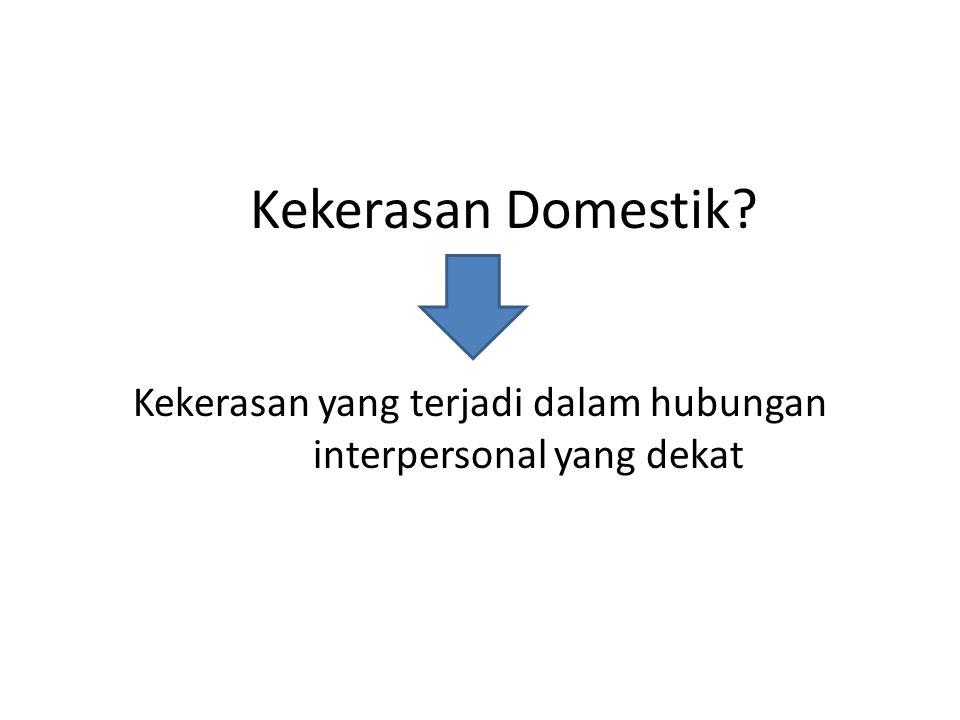 Kekerasan Domestik? Kekerasan yang terjadi dalam hubungan interpersonal yang dekat