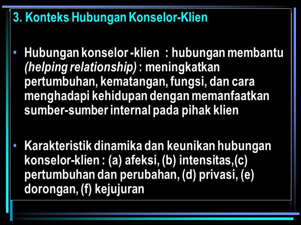 3. Konteks Hubungan Konselor-Klien Hubungan konselor -klien : hubungan membantu (helping relationship) : meningkatkan pertumbuhan, kematangan, fungsi,