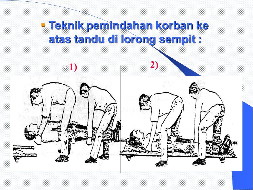 2.)1)  Memindahkan korban ke atas tandu (3 penolong) :