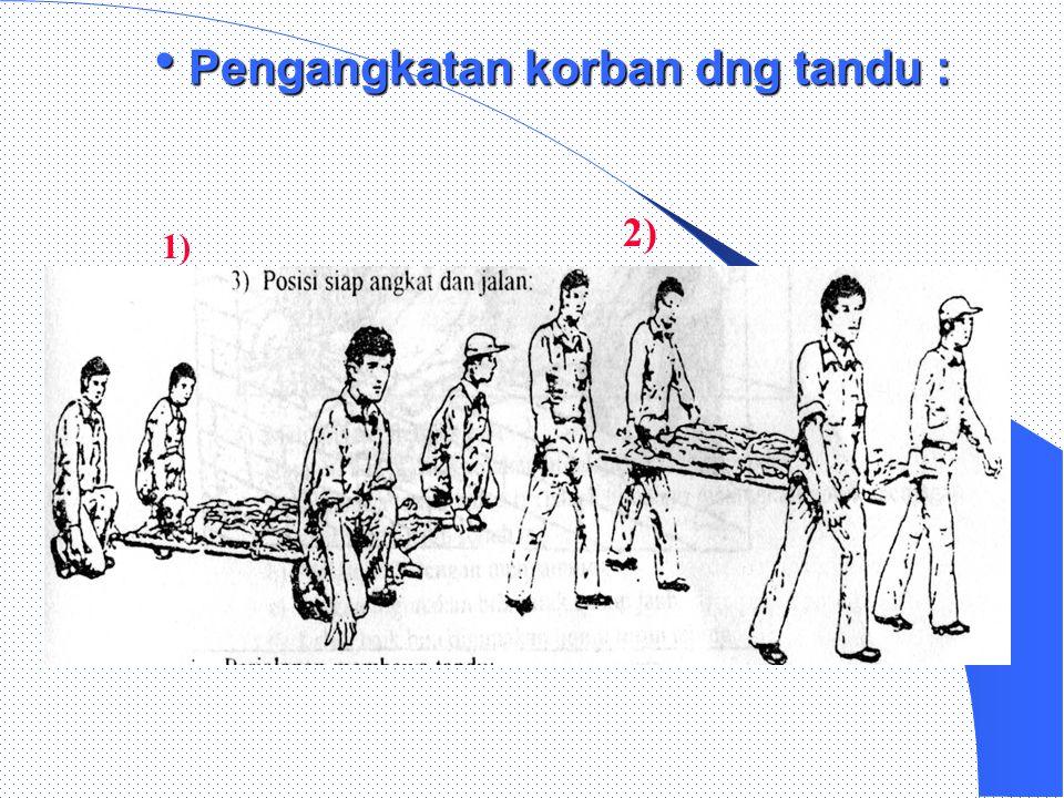  1) 2)  Teknik pemindahan korban ke atas tandu di lorong sempit :