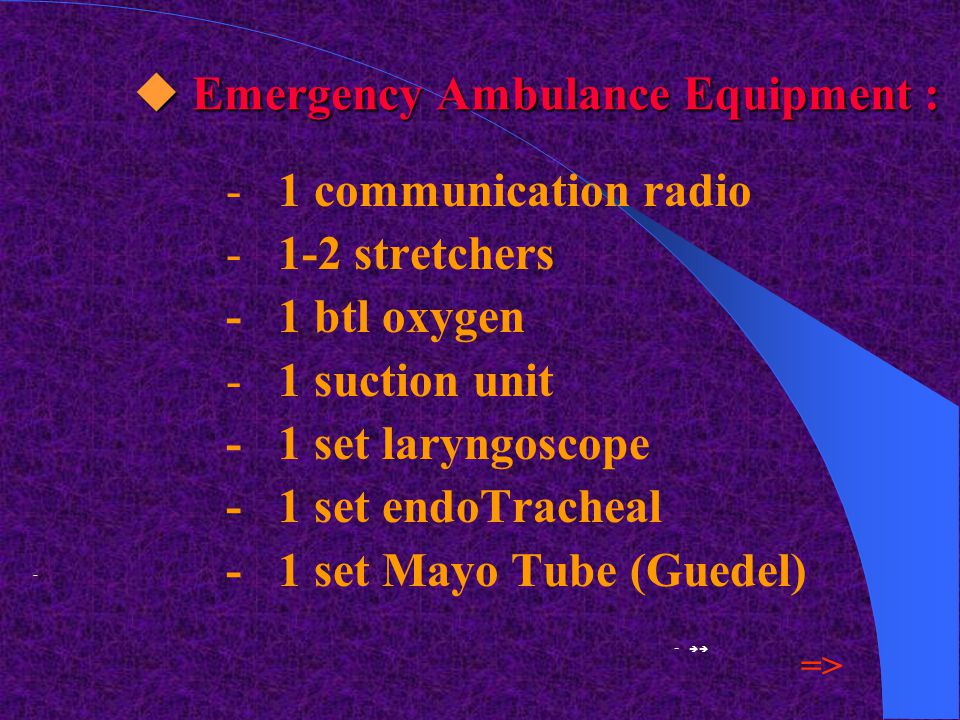  1. Emergency Ambulance ;  EmergencyAmbulance Crew Team : - 1 medical doctor - 2 nurses - 1 driver