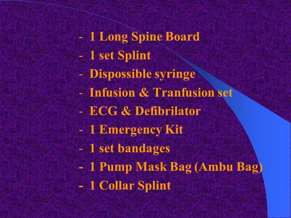  Emergency Ambulance Equipment : - 1 communication radio - 1-2 stretchers - 1 btl oxygen - 1 suction unit - 1 set laryngoscope - 1 set endoTracheal -