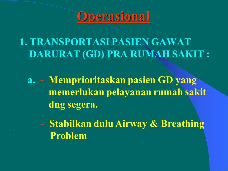 Transport Ambulance equipment :Transport Ambulance equipment : - 1 communication radio - 1 Stretcher - 1 set Splint & Bandages - Infusion set - Ringer