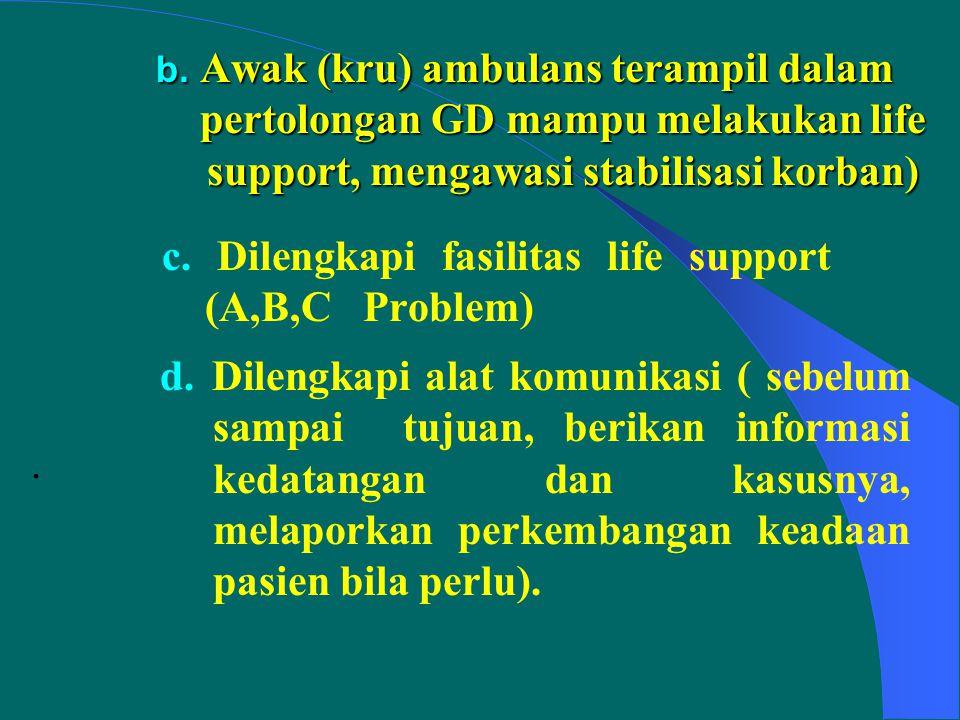 Operasional 1. TRANSPORTASI PASIEN GAWAT DARURAT (GD) PRA RUMAH SAKIT : a. - Memprioritaskan pasien GD yang memerlukan pelayanan rumah sakit dng seger