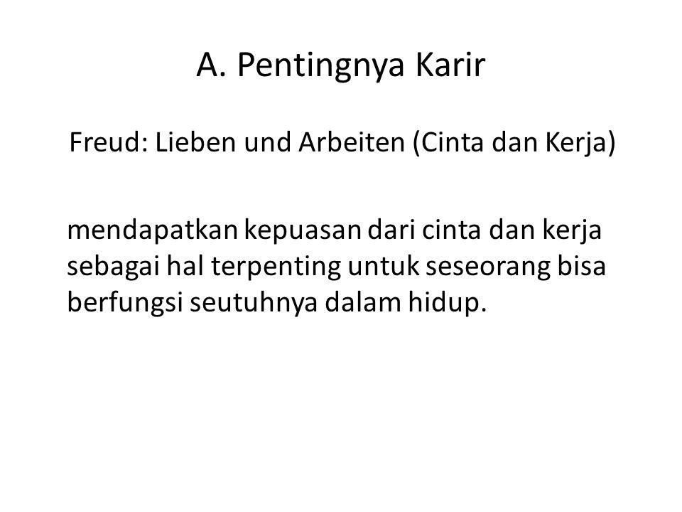 A. Pentingnya Karir Freud: Lieben und Arbeiten (Cinta dan Kerja) mendapatkan kepuasan dari cinta dan kerja sebagai hal terpenting untuk seseorang bisa