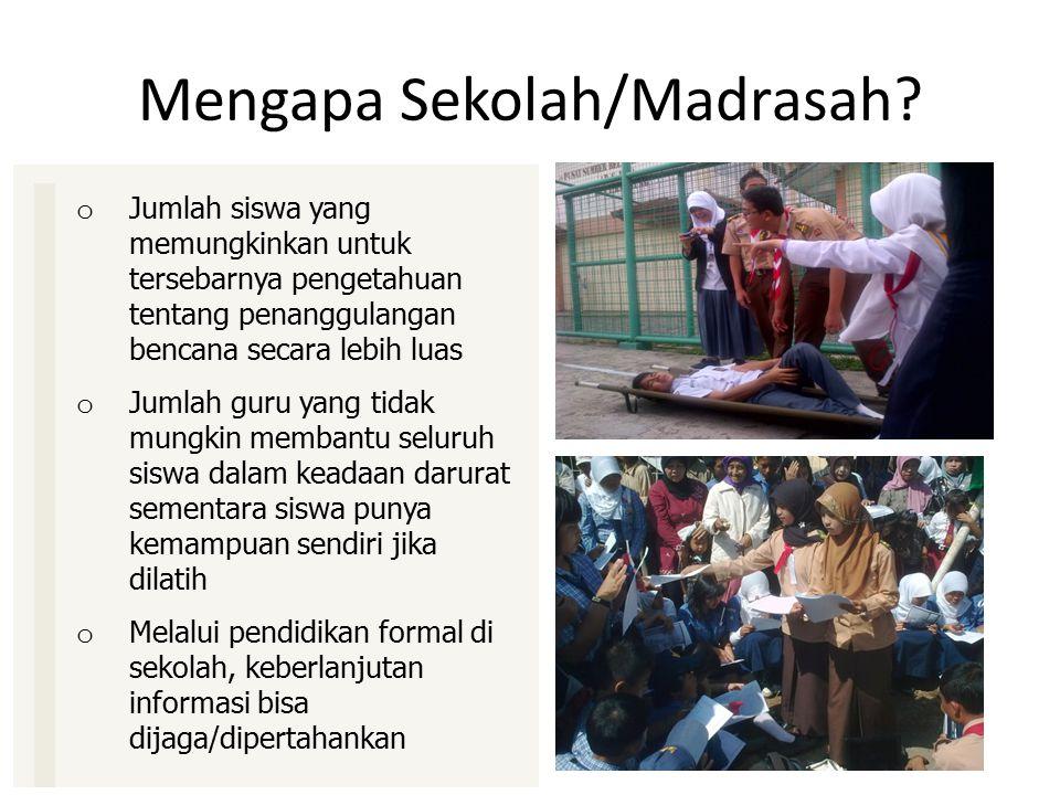 Mengapa Sekolah/Madrasah? o Jumlah siswa yang memungkinkan untuk tersebarnya pengetahuan tentang penanggulangan bencana secara lebih luas o Jumlah gur