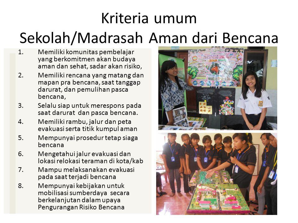 Kriteria umum Sekolah/Madrasah Aman dari Bencana 1.Memiliki komunitas pembelajar yang berkomitmen akan budaya aman dan sehat, sadar akan risiko, 2.Mem
