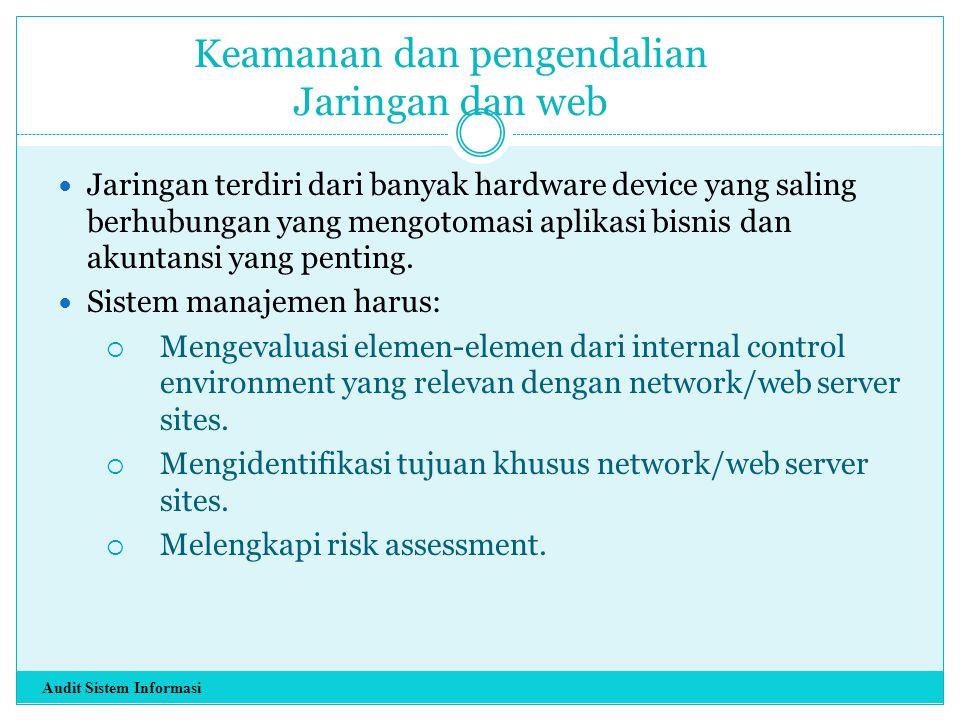 Keamanan dan pengendalian Jaringan dan web Jaringan terdiri dari banyak hardware device yang saling berhubungan yang mengotomasi aplikasi bisnis dan a