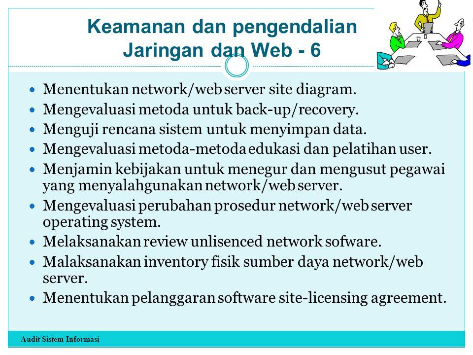 Menentukan network/web server site diagram. Mengevaluasi metoda untuk back-up/recovery. Menguji rencana sistem untuk menyimpan data. Mengevaluasi meto