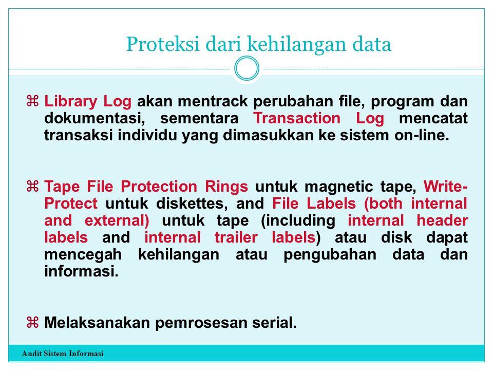 zLibrary Log akan mentrack perubahan file, program dan dokumentasi, sementara Transaction Log mencatat transaksi individu yang dimasukkan ke sistem on
