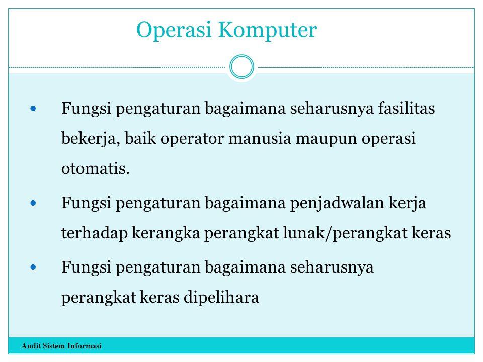Operasi Komputer Fungsi pengaturan bagaimana seharusnya fasilitas bekerja, baik operator manusia maupun operasi otomatis. Fungsi pengaturan bagaimana