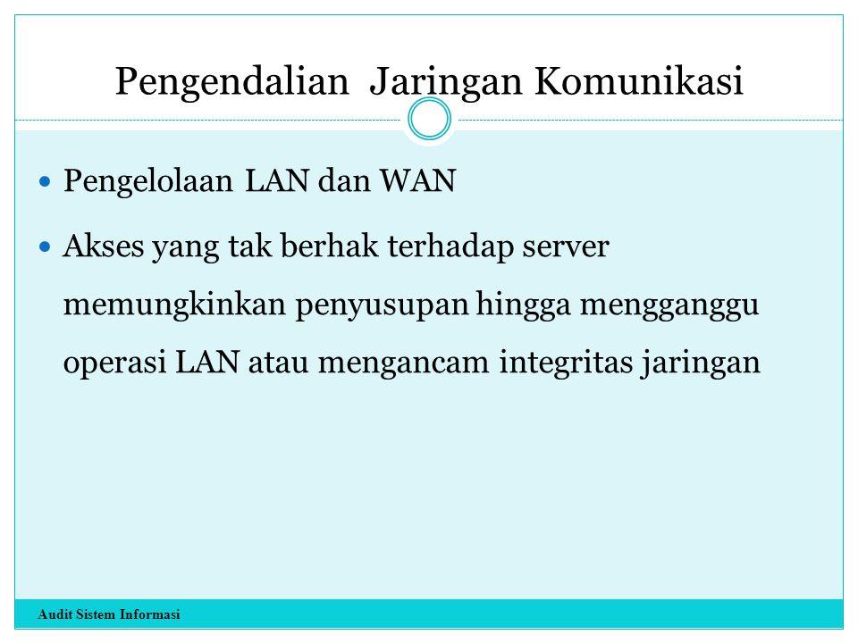 Pengendalian Jaringan Komunikasi Pengelolaan LAN dan WAN Akses yang tak berhak terhadap server memungkinkan penyusupan hingga mengganggu operasi LAN a