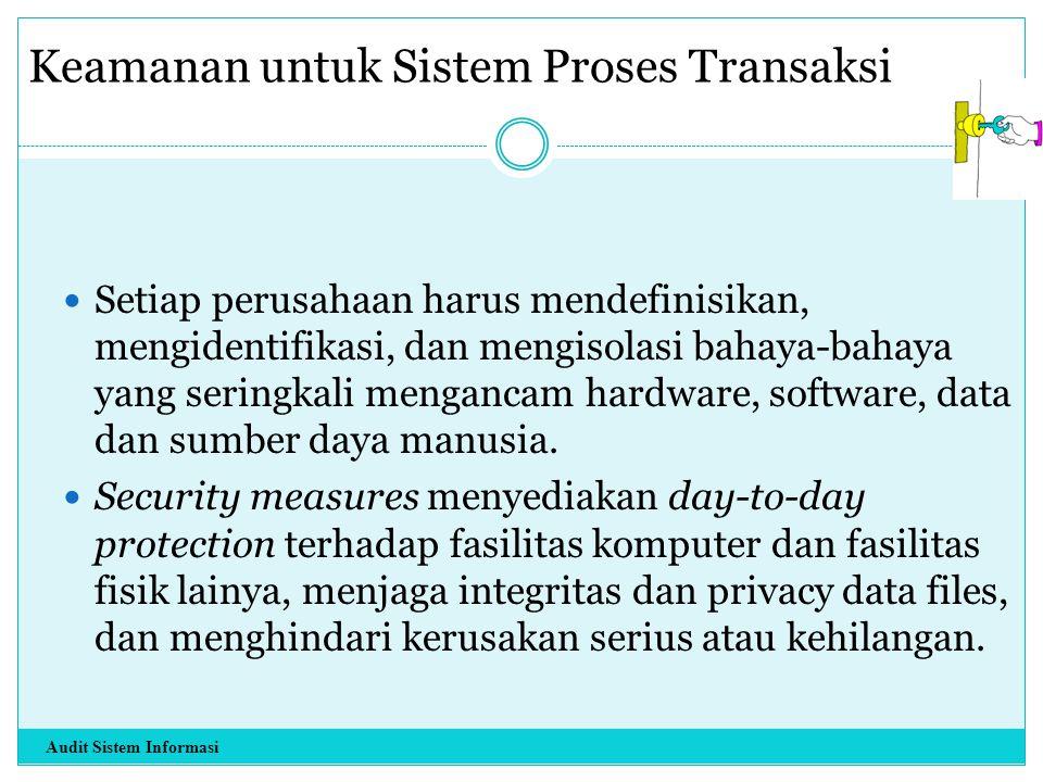 Keamanan untuk Sistem Proses Transaksi Setiap perusahaan harus mendefinisikan, mengidentifikasi, dan mengisolasi bahaya-bahaya yang seringkali menganc