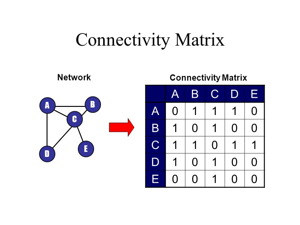 Connectivity Matrix A B D C E ABCDE A01110 B10100 C11011 D10100 E00100 Network Connectivity Matrix