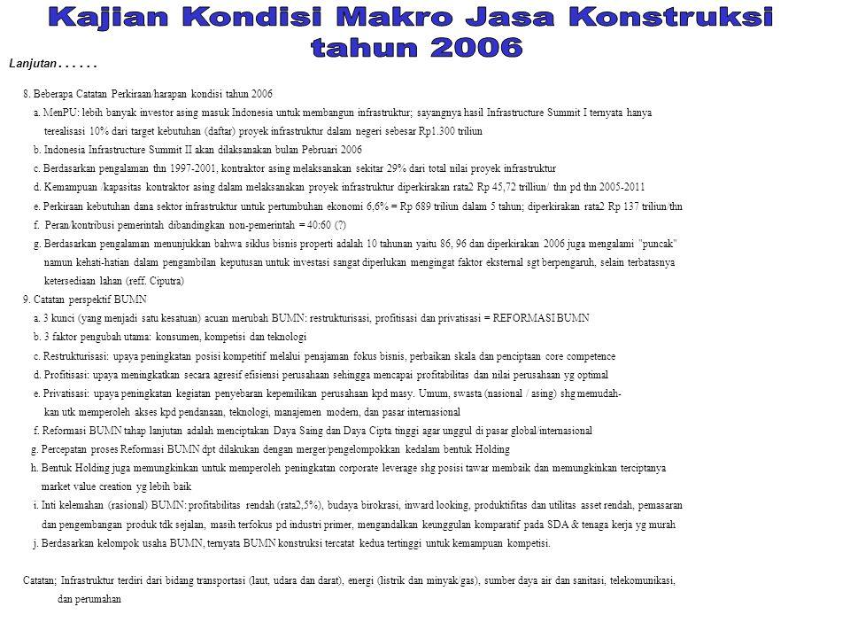 8. Beberapa Catatan Perkiraan/harapan kondisi tahun 2006 a. MenPU: lebih banyak investor asing masuk Indonesia untuk membangun infrastruktur; sayangny