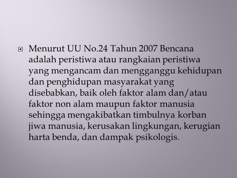  Menurut UU No.24 Tahun 2007 Bencana adalah peristiwa atau rangkaian peristiwa yang mengancam dan mengganggu kehidupan dan penghidupan masyarakat yan
