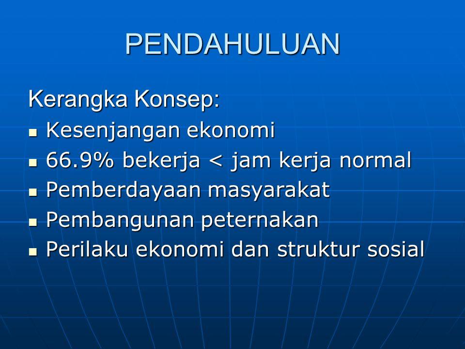 PENDAHULUAN Kerangka Konsep: Kesenjangan ekonomi Kesenjangan ekonomi 66.9% bekerja < jam kerja normal 66.9% bekerja < jam kerja normal Pemberdayaan ma
