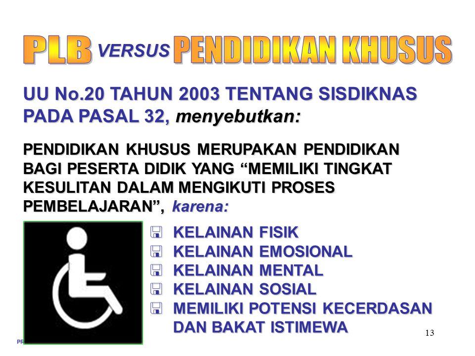 PROFESIONALISME GURU PLB 13 OKT 2008 13 PENDIDIKAN KHUSUS MERUPAKAN PENDIDIKAN BAGI PESERTA DIDIK YANG MEMILIKI TINGKAT KESULITAN DALAM MENGIKUTI PROSES PEMBELAJARAN , karena: UU No.20 TAHUN 2003 TENTANG SISDIKNAS PADA PASAL 32, menyebutkan:  KELAINAN FISIK  KELAINAN EMOSIONAL  KELAINAN MENTAL  KELAINAN SOSIAL  MEMILIKI POTENSI KECERDASAN DAN BAKAT ISTIMEWA VERSUS