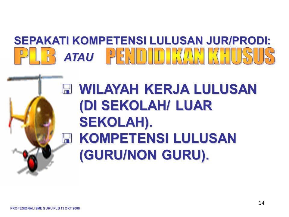 PROFESIONALISME GURU PLB 13 OKT 2008 14  WILAYAH KERJA LULUSAN (DI SEKOLAH/ LUAR SEKOLAH).