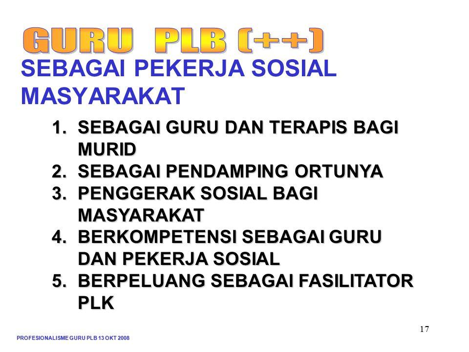 PROFESIONALISME GURU PLB 13 OKT 2008 17 SEBAGAI PEKERJA SOSIAL MASYARAKAT 1.SEBAGAI GURU DAN TERAPIS BAGI MURID 2.SEBAGAI PENDAMPING ORTUNYA 3.PENGGERAK SOSIAL BAGI MASYARAKAT 4.BERKOMPETENSI SEBAGAIGURU DAN PEKERJA SOSIAL 4.BERKOMPETENSI SEBAGAI GURU DAN PEKERJA SOSIAL 5.BERPELUANG SEBAGAI FASILITATOR PLK