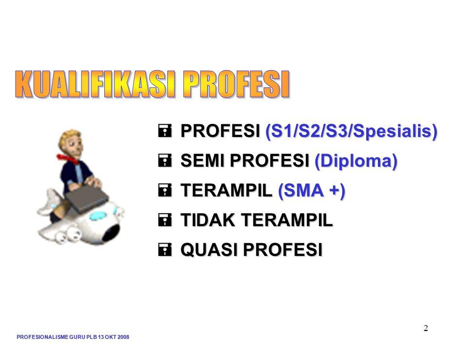 PROFESIONALISME GURU PLB 13 OKT 2008 2  PROFESI (S1/S2/S3/Spesialis)  SEMI PROFESI (Diploma)  TERAMPIL (SMA +)  TIDAK TERAMPIL  QUASI PROFESI