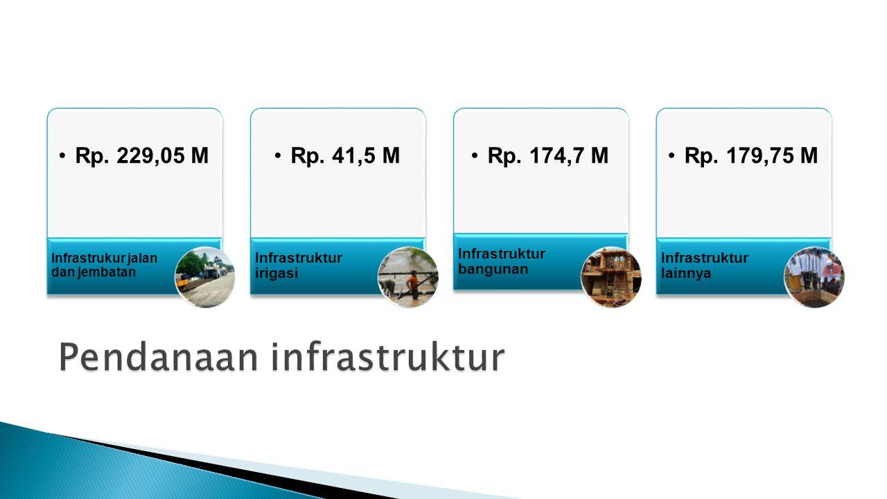 Rp. 229,05 M Infrastrukur jalan dan jembatan Rp. 41,5 M Infrastruktur irigasi Rp. 174,7 M Infrastruktur bangunan Rp. 179,75 M Infrastruktur lainnya