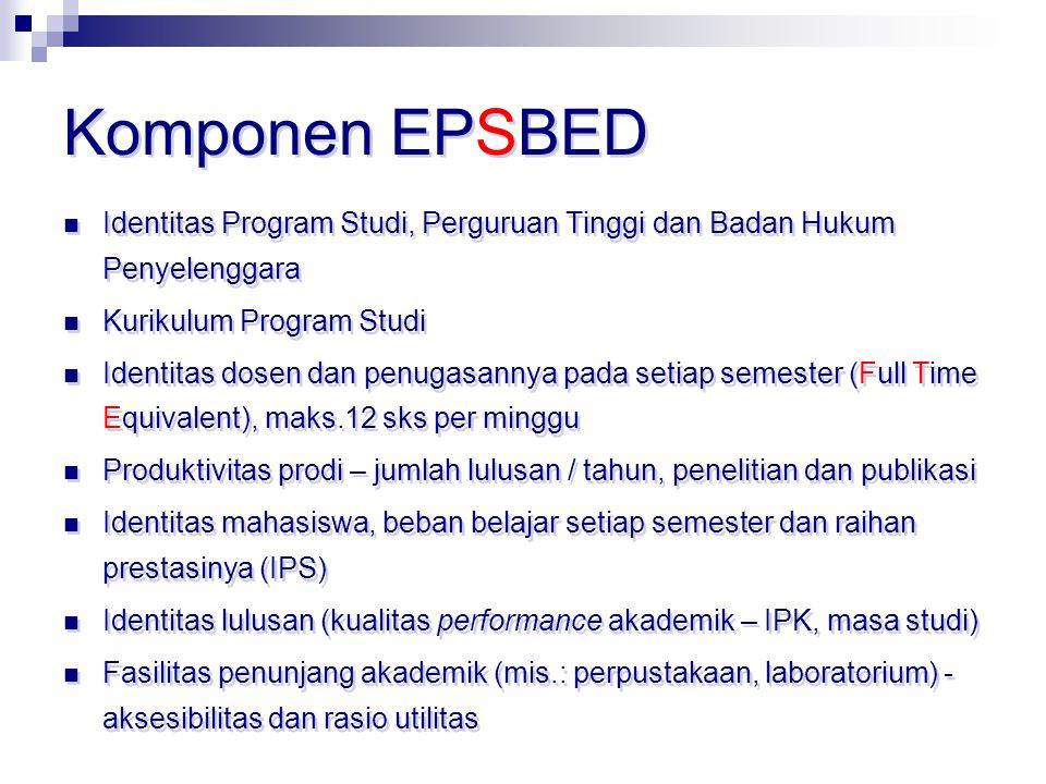 Komponen EPSBED Identitas Program Studi, Perguruan Tinggi dan Badan Hukum Penyelenggara Kurikulum Program Studi Identitas dosen dan penugasannya pada