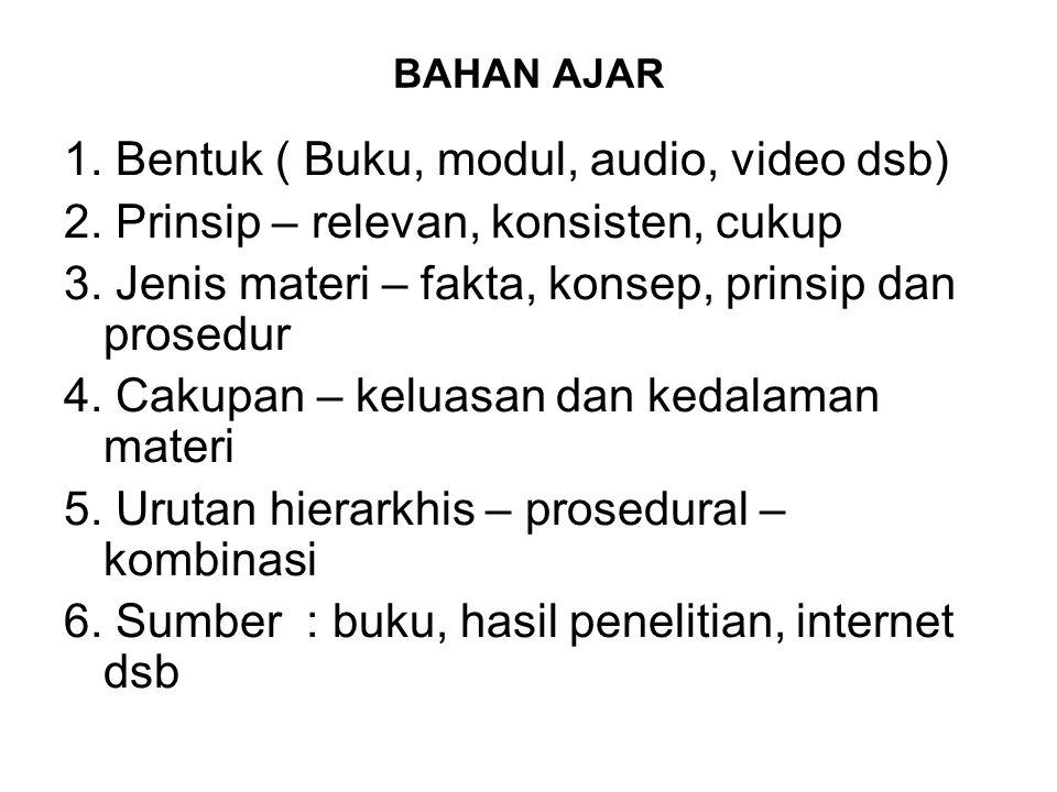 BAHAN AJAR 1. Bentuk ( Buku, modul, audio, video dsb) 2.