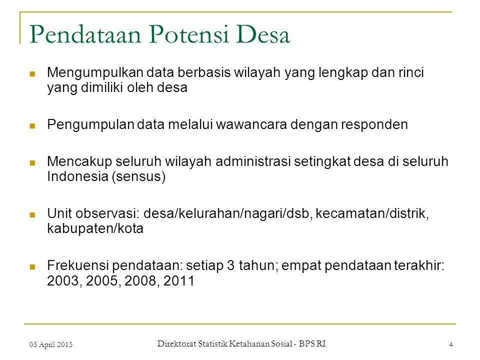 05 April 2015 Direktorat Statistik Ketahanan Sosial - BPS RI 4 Pendataan Potensi Desa Mengumpulkan data berbasis wilayah yang lengkap dan rinci yang d