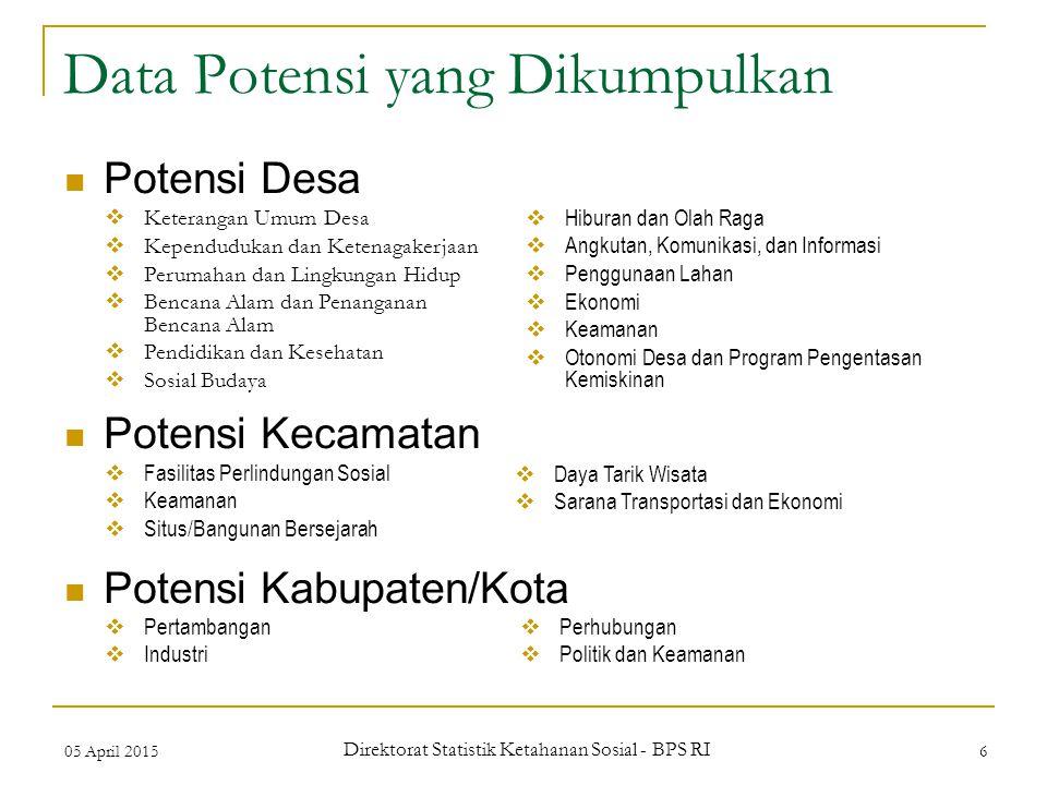 05 April 2015 Direktorat Statistik Ketahanan Sosial - BPS RI 6 Data Potensi yang Dikumpulkan Potensi Desa Potensi Kecamatan Potensi Kabupaten/Kota  K