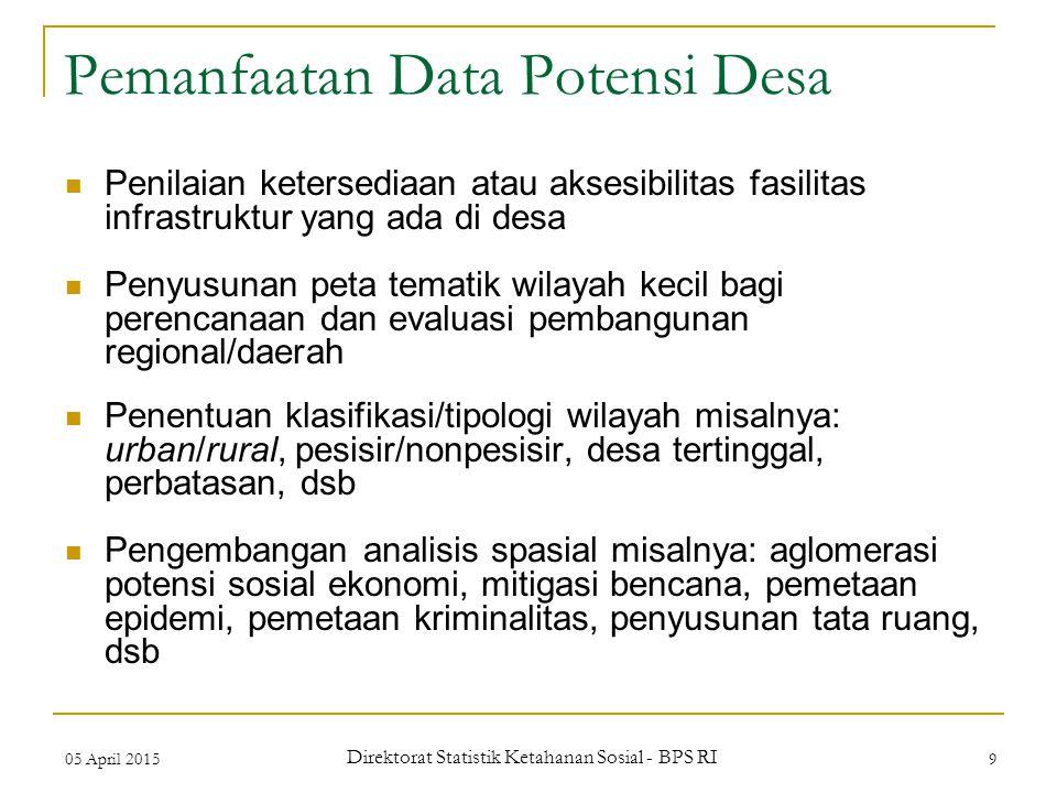 05 April 2015 Direktorat Statistik Ketahanan Sosial - BPS RI 9 Pemanfaatan Data Potensi Desa Penilaian ketersediaan atau aksesibilitas fasilitas infra