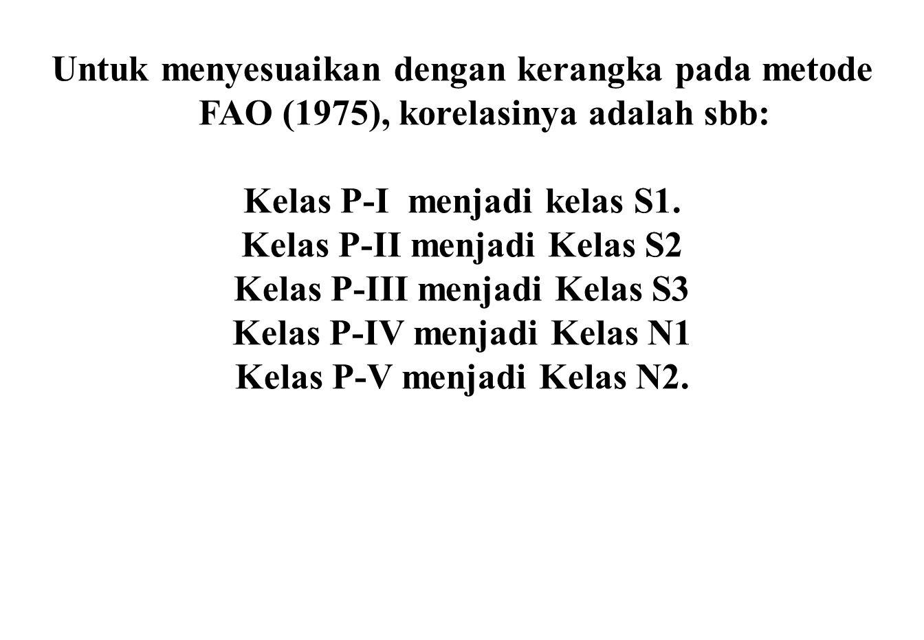 Untuk menyesuaikan dengan kerangka pada metode FAO (1975), korelasinya adalah sbb: Kelas P-I menjadi kelas S1. Kelas P-II menjadi Kelas S2 Kelas P-III