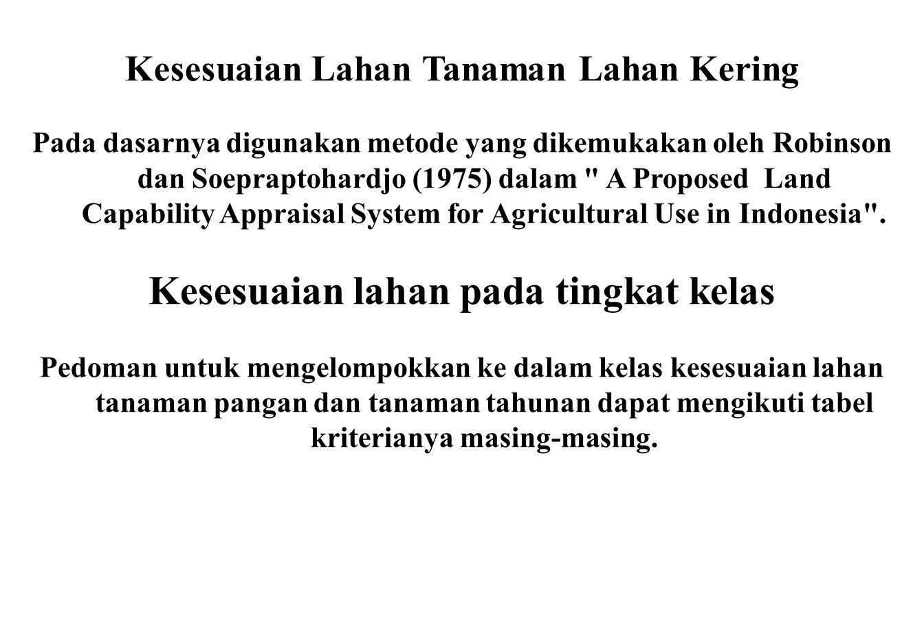 Kesesuaian Lahan Tanaman Lahan Kering Pada dasarnya digunakan metode yang dikemukakan oleh Robinson dan Soepraptohardjo (1975) dalam A Proposed Land Capability Appraisal System for Agricultural Use in Indonesia .