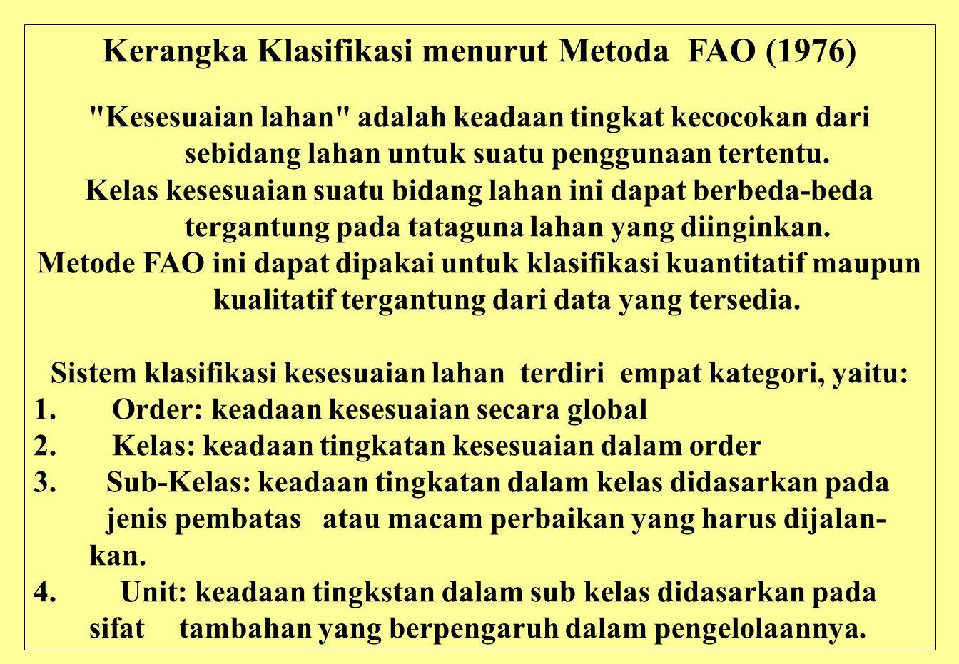 Kerangka Klasifikasi menurut Metoda FAO (1976) Kesesuaian lahan adalah keadaan tingkat kecocokan dari sebidang lahan untuk suatu penggunaan tertentu.