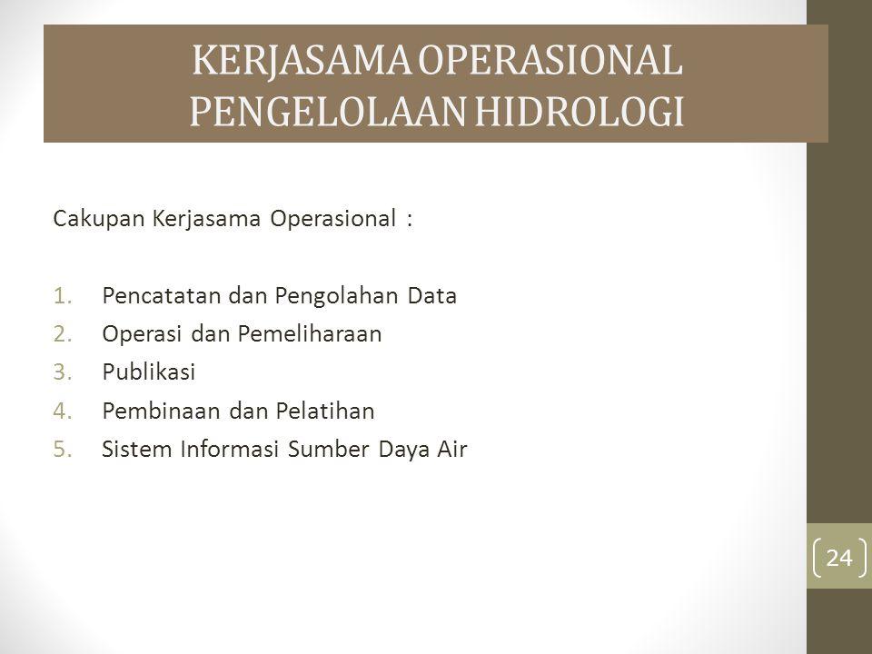 KERJASAMA OPERASIONAL PENGELOLAAN HIDROLOGI Cakupan Kerjasama Operasional : 1.Pencatatan dan Pengolahan Data 2.Operasi dan Pemeliharaan 3.Publikasi 4.Pembinaan dan Pelatihan 5.Sistem Informasi Sumber Daya Air 24