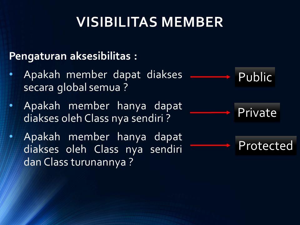 VISIBILITAS MEMBER Pengaturan aksesibilitas : Apakah member dapat diakses secara global semua ? Apakah member hanya dapat diakses oleh Class nya sendi
