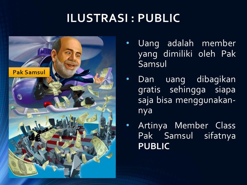 ILUSTRASI : PUBLIC Uang adalah member yang dimiliki oleh Pak Samsul Dan uang dibagikan gratis sehingga siapa saja bisa menggunakan- nya Artinya Member