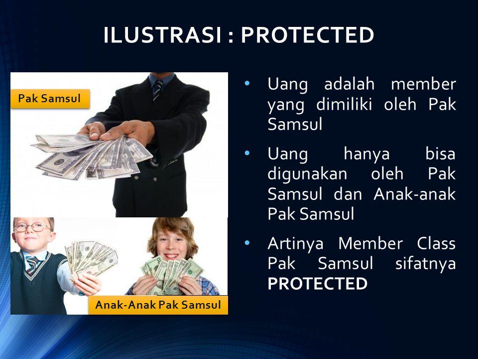 ILUSTRASI : PROTECTED Uang adalah member yang dimiliki oleh Pak Samsul Uang hanya bisa digunakan oleh Pak Samsul dan Anak-anak Pak Samsul Artinya Memb