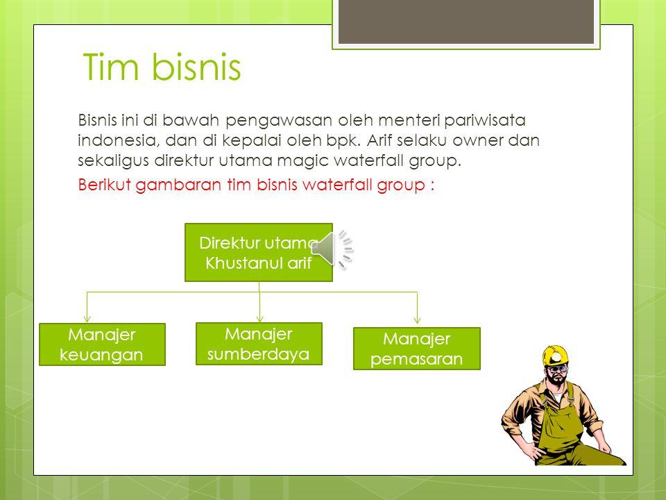 Tim bisnis Bisnis ini di bawah pengawasan oleh menteri pariwisata indonesia, dan di kepalai oleh bpk.