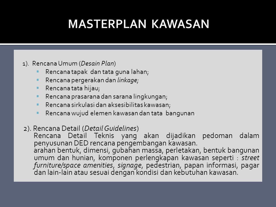 1). Rencana Umum (Desain Plan)  Rencana tapak dan tata guna lahan;  Rencana pergerakan dan linkage;  Rencana tata hijau;  Rencana prasarana dan sa