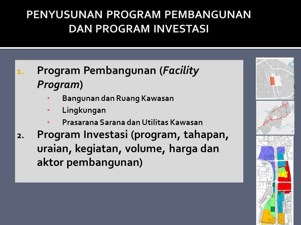 1. Program Pembangunan (Facility Program) ▪ Bangunan dan Ruang Kawasan ▪ Lingkungan ▪ Prasarana Sarana dan Utilitas Kawasan 2. Program Investasi (prog
